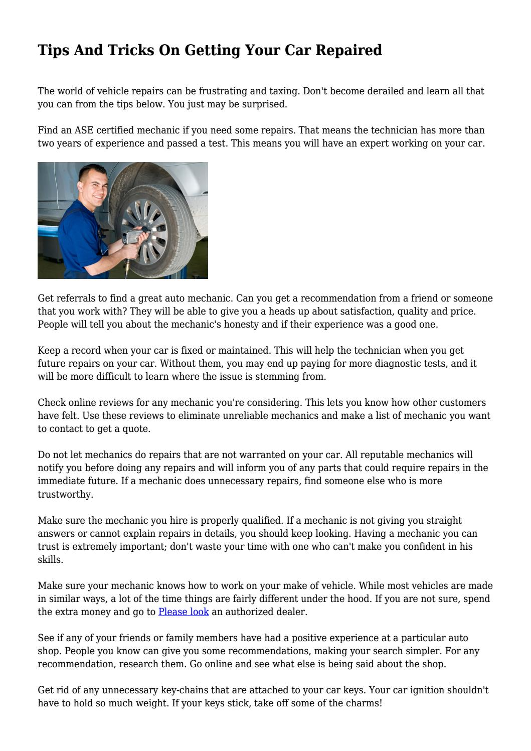 Tips and tricks on getting your car repaired by tips and tricks on getting your car repaired by meekhairstyle8576 issuu 1betcityfo Images