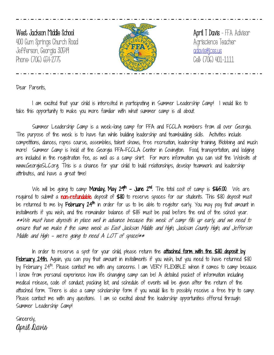 Summer Leadership Camp Letter by West Jacskon Middle FFA ...