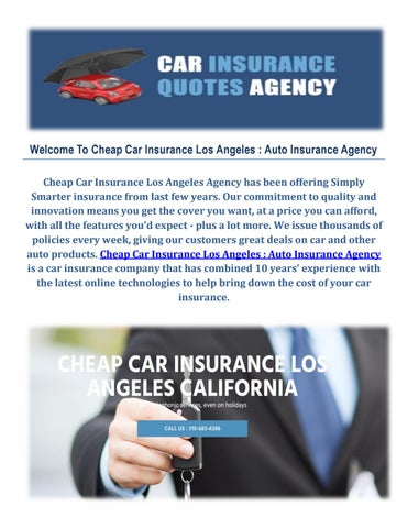 Auto Insurance Agency Cheap Car Insurance In Los Angeles Ca By