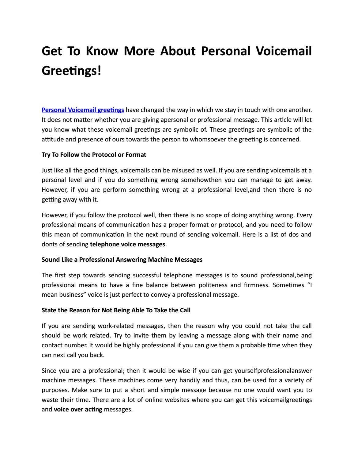 Voicemail Greetings Professional By Alicecarners Issuu