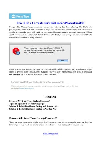 How to Fix a Corrupt iTunes Backup for iPhone/iPad/iPod by