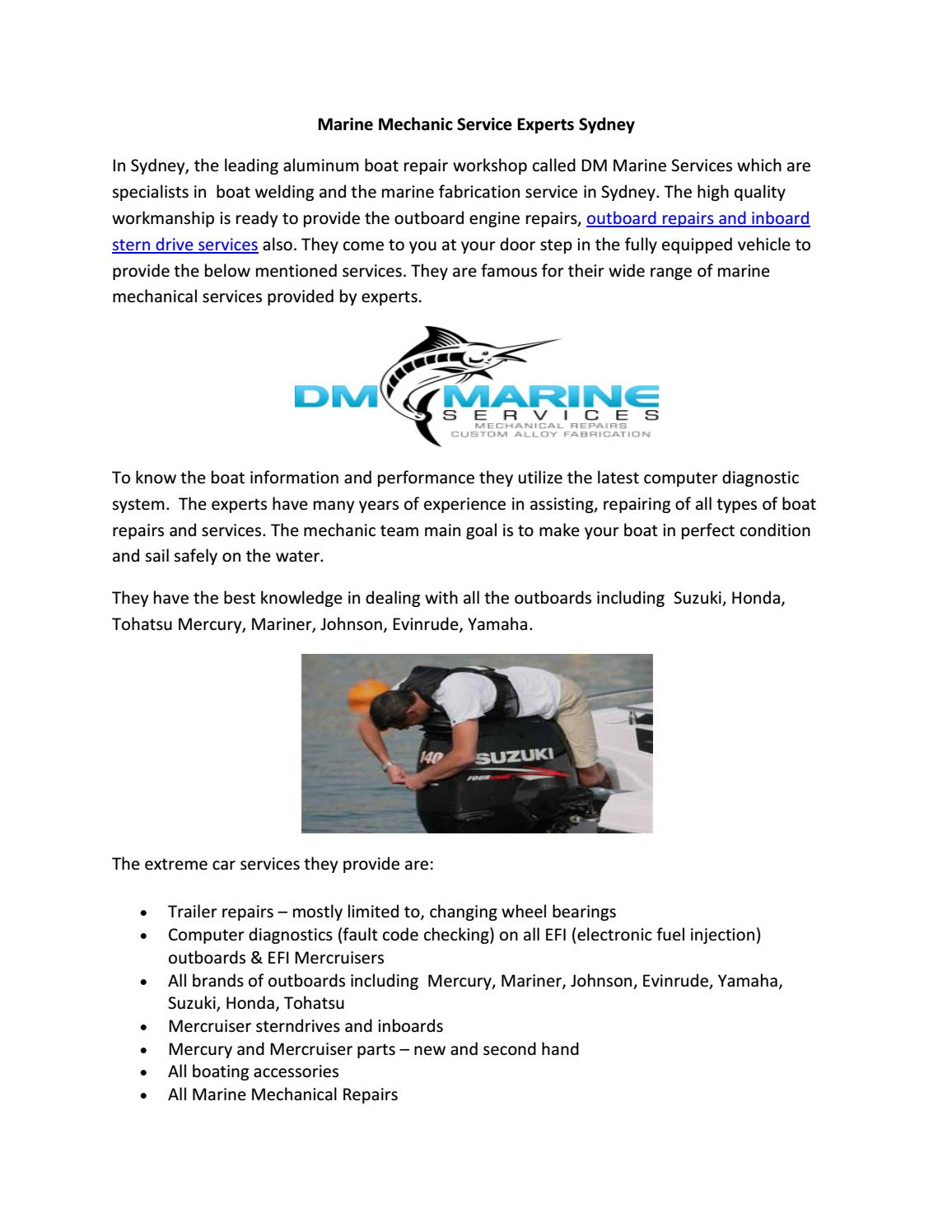 Marine mechanic service experts sydney by DM Marine Services - issuu