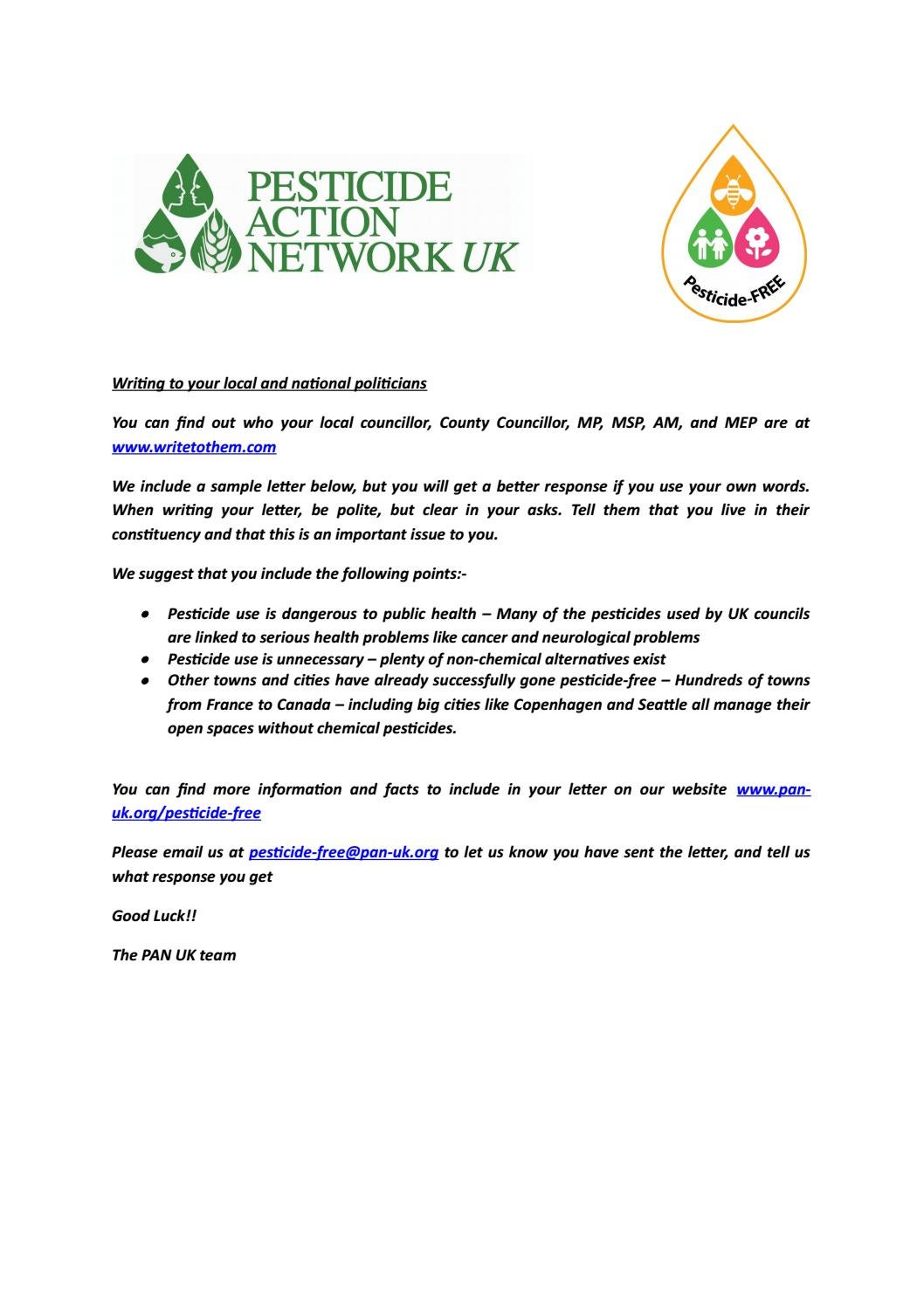 Pesticide Free Towns Sample Letter by PAN UK issuu