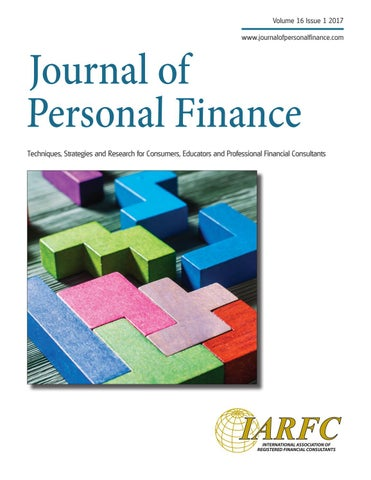 Journal Personal Finance Volume 16 Issue 1 by IARFC - issuu