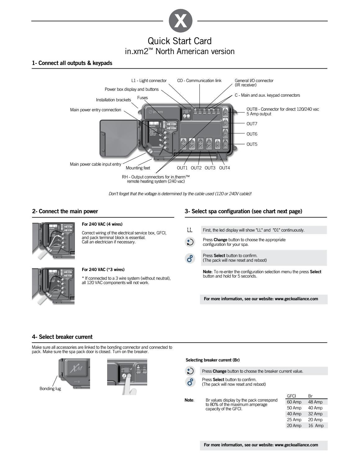 Inxm2 Control System Quick Start Card By Gecko Marketing Issuu Ground Fault Breaker Wiring Diagram For Spas