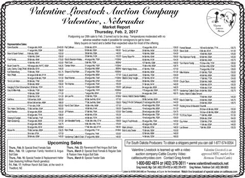 Valentine Livestock Auction Co. Market Report   2.6.17