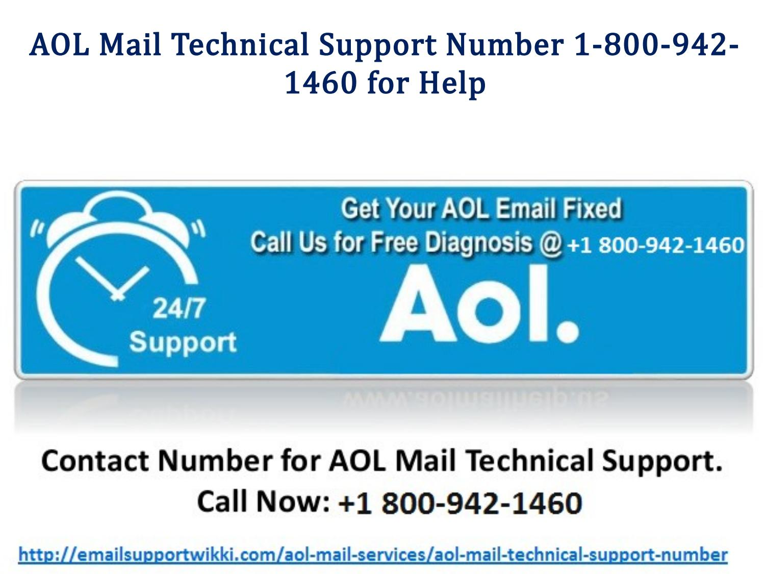 aol mail technical support number 1-800-942-1460 for help by email