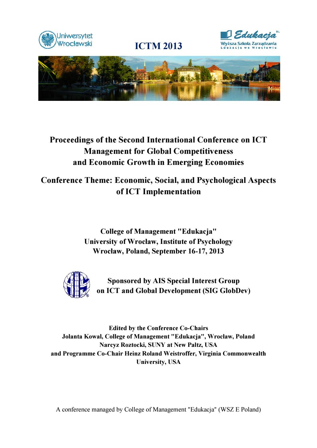 Proceedings Of The Ictm 2013 By Jolanta Kowal Issuu