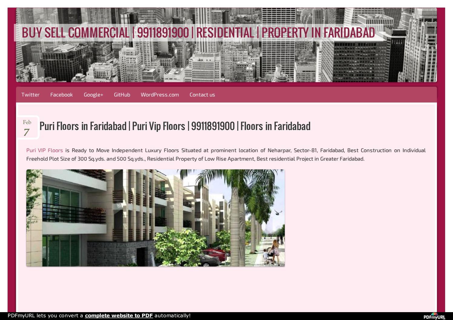 Puri Floors in Faridabad | Puri Vip Floors | 9911891900