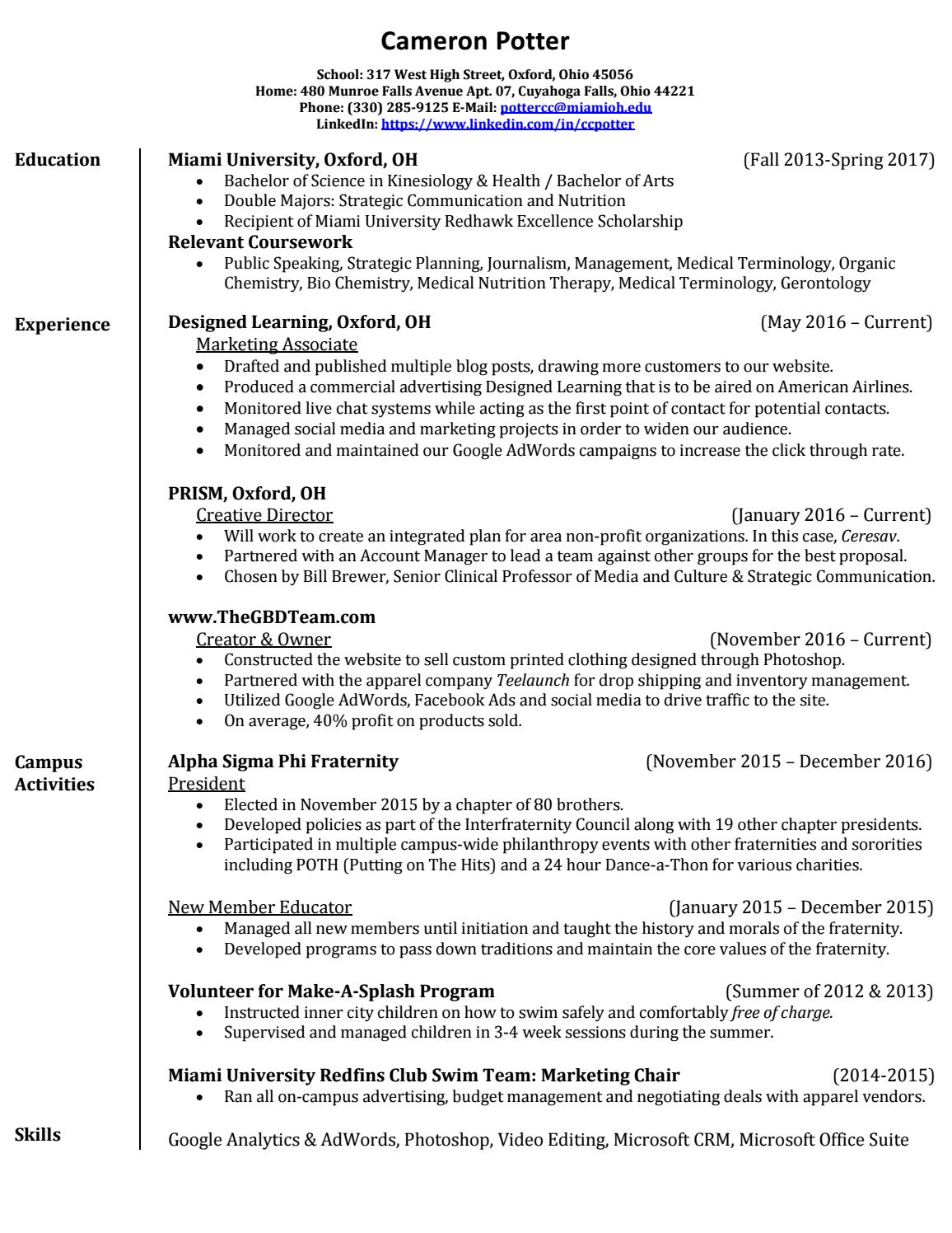 Cameron potter resume by Cameron Potter - issuu