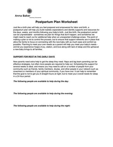 page 1 postpartum plan worksheet just like a birth plan will help you feel prepared and empowered for labor and birth a postpartum plan will help you