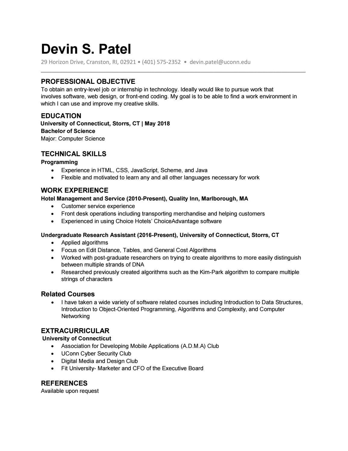 Resume by Devin Patel - issuu