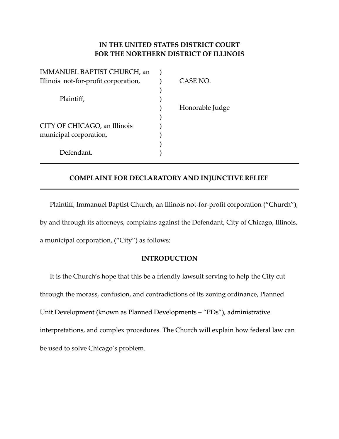 Immanuel Baptist Church Complaint Against City of Chicago by