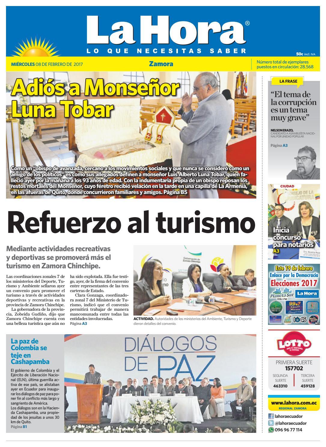 Diario La Hora Zamora 08 De Febrero 2017 By Diario La Hora Ecuador  # Muebles Paquita Santa Cruz De La Zarza