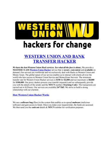 Western union and bank transfer hacker by MTCN HACKER - issuu