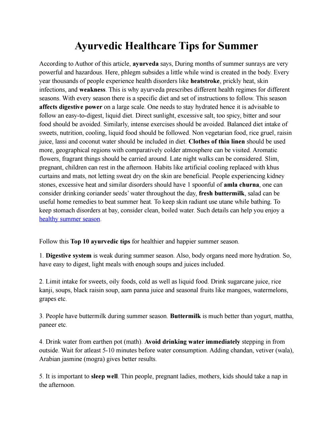 Ayurvedic Healthcare Tips For Summer By Prakruti