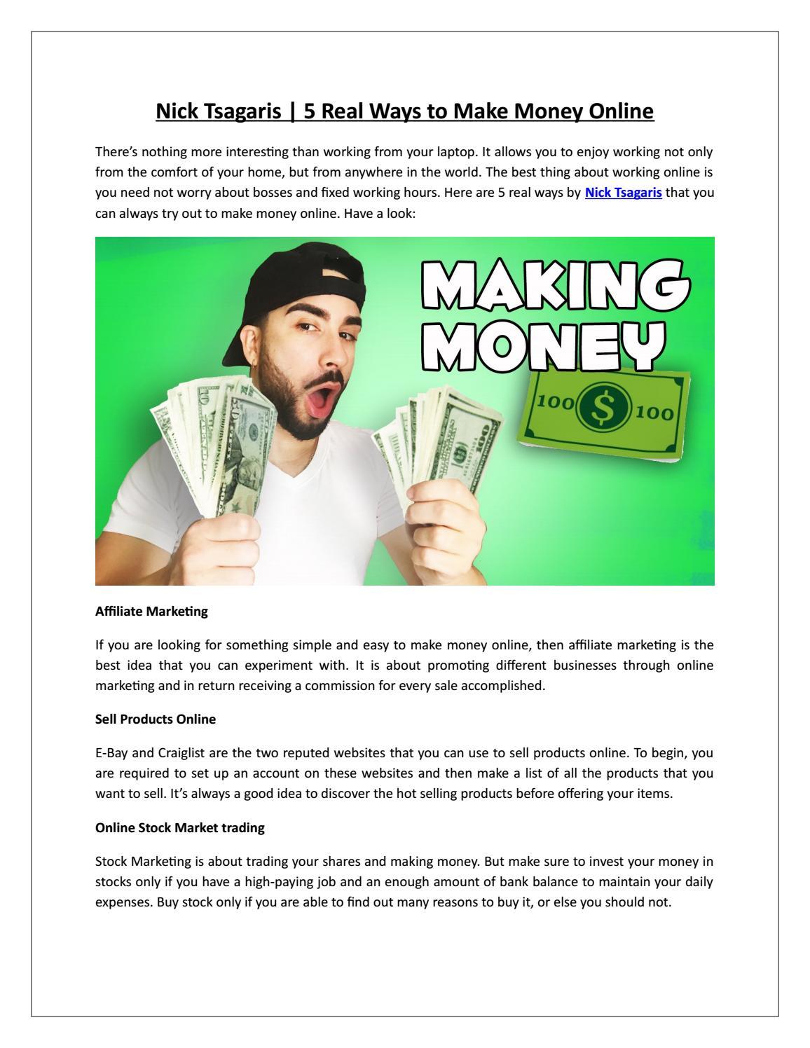 64a898a633 Nick Tsagaris   5 Real Ways to Make Money Online by NickTsagaris - issuu