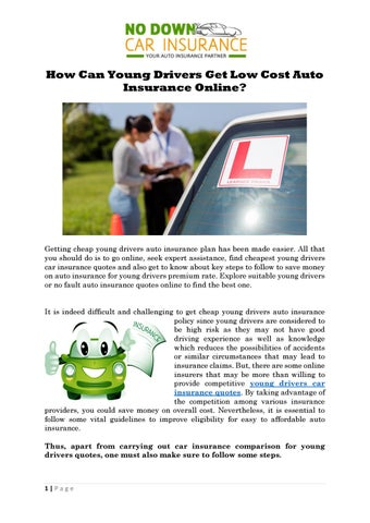 Low Rate Car Insurance For Young Drivers By Nodowncarinsurance Issuu