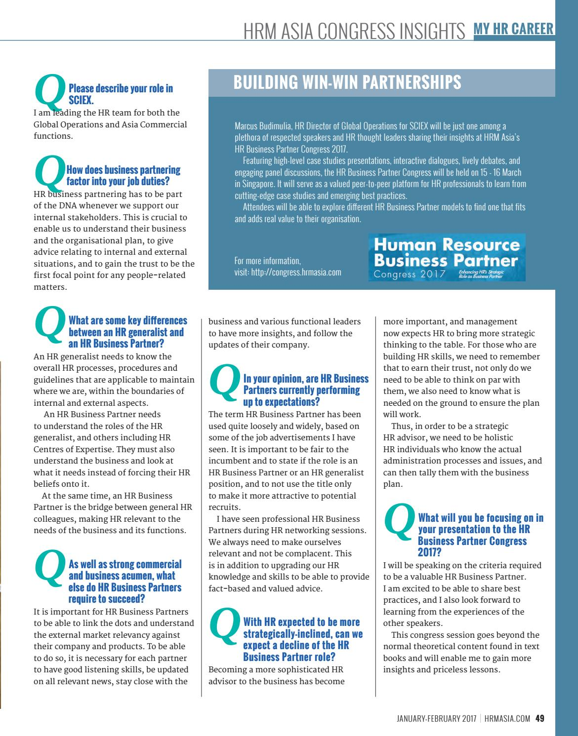 Hrm Jan Feb 2017 The State Of HR Profession In By HRM Asia