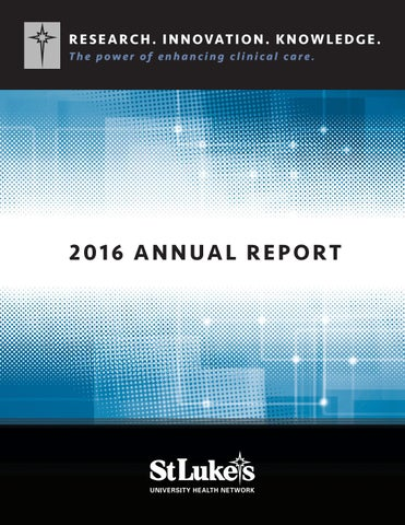 St  Luke's Research & Innovation: Annual Report 2016 by