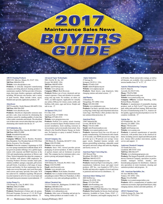 Jan/Feb 2017 Maintenance Sales News by Maintenance Sales