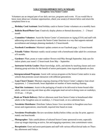 VOLUNTEER OPPORTUNITY SUMMARY Stoughton Area Senior Center Volunteers Are An Integral Part Of Our Daily Services Programs And Events