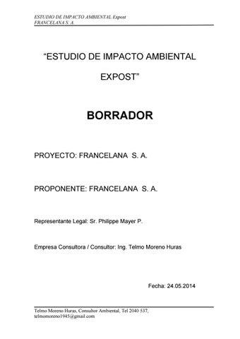 Borrador del estudio de impacto ambiental abril by Francelana lana ...