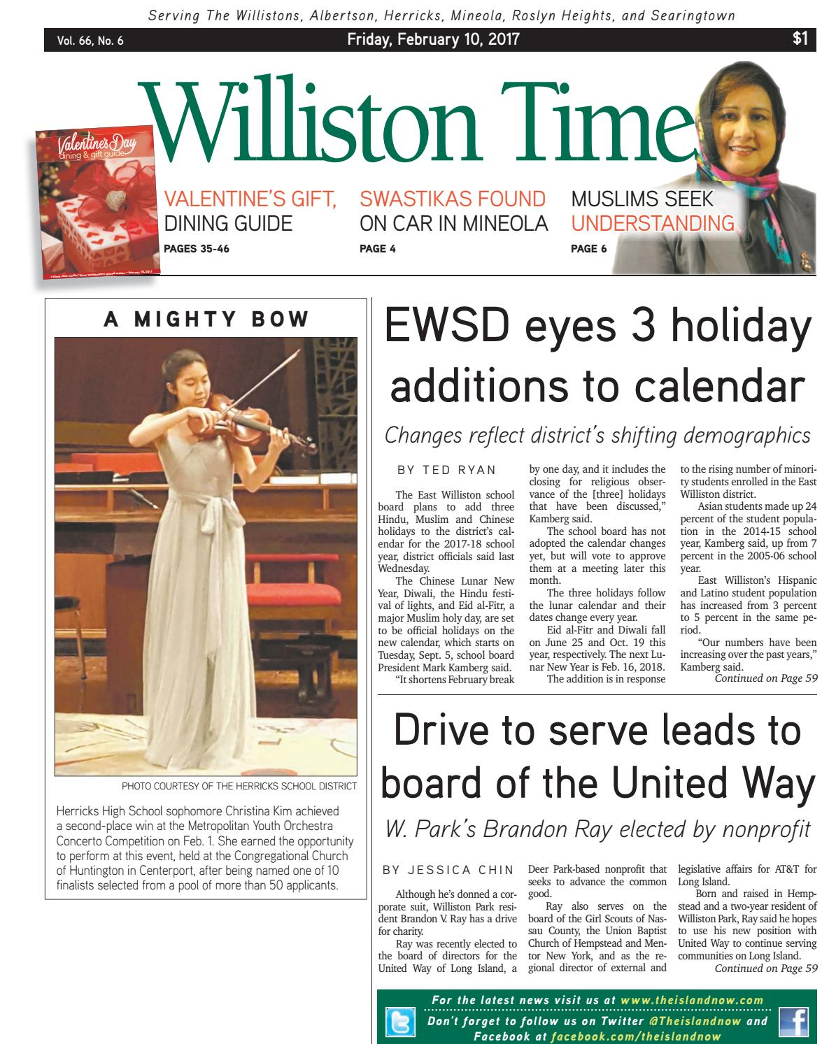 williston muslim The east williston and herricks districts will be closed to students only on that day last may, the jericho school district ok'd the eid holidays, effective for the 2018-19 school year before that approval, district officials had remarked on the difficulty of such a decision and vowed further study.