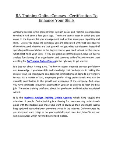 Ba training online courses certification to enhance skills by ...