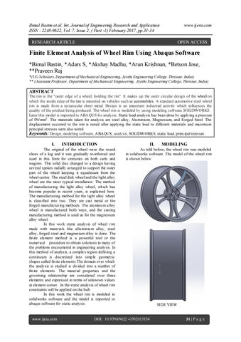 Finite Element Analysis of Wheel Rim Using Abaqus Software
