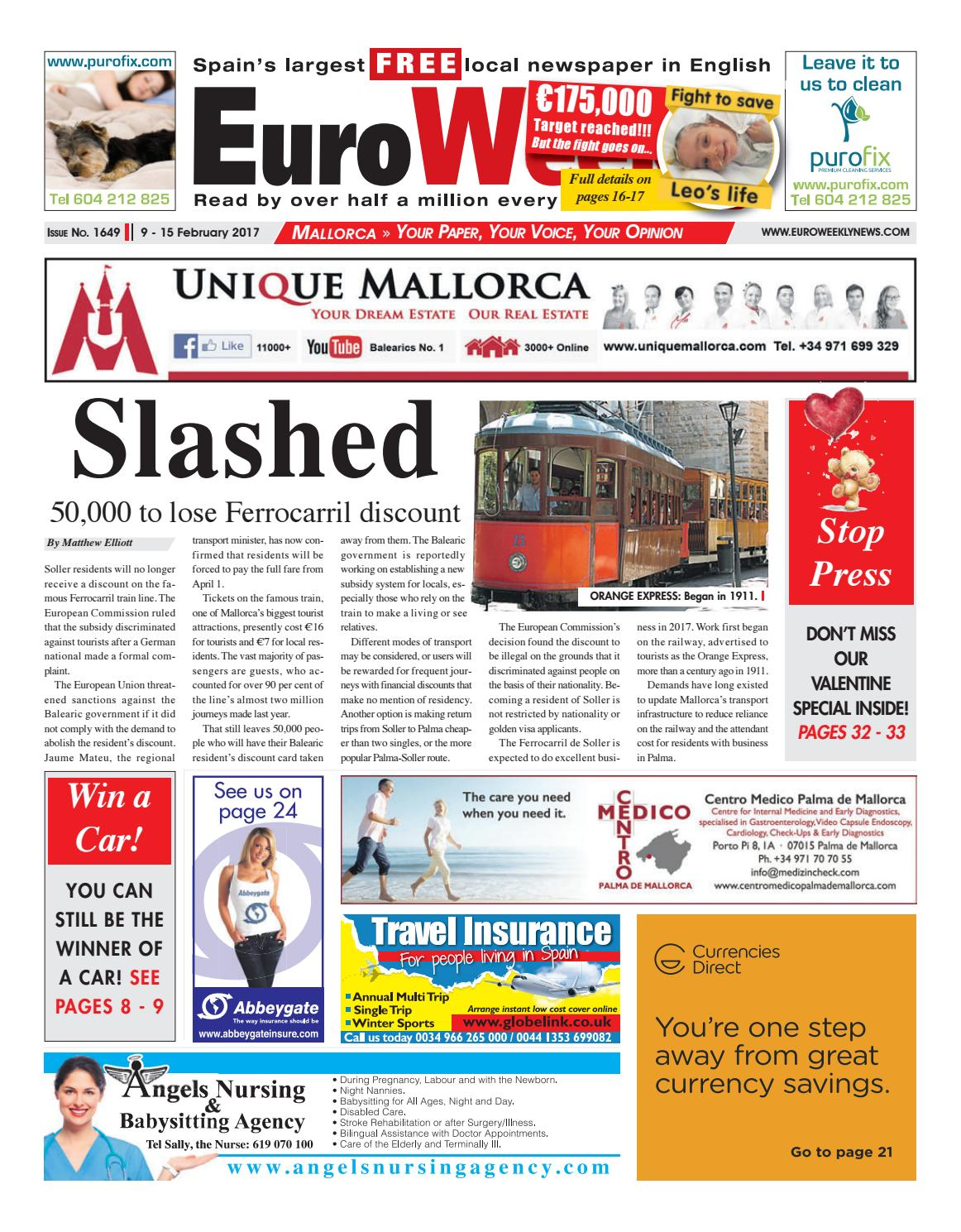 Euro weekly news mallorca 9 15 february 2017 issue 1649 by euro euro weekly news mallorca 9 15 february 2017 issue 1649 by euro weekly news media sa issuu fandeluxe Gallery