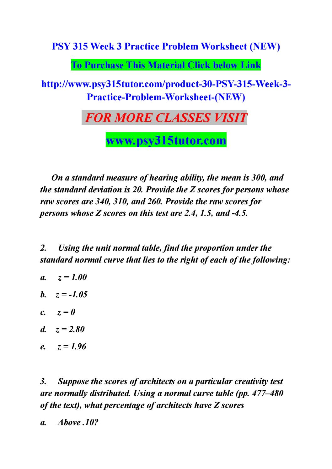 Psy 24 week 24 practice problem worksheet (new) by smitha24 - issuu With Z Score Practice Worksheet