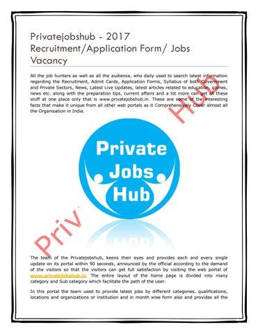 Privatejobshub - 2017 Recruitment/Application Form/ Jobs