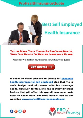 Page 1. ProHealthInsuranceQuote. Best Self Employed. Health Insurance
