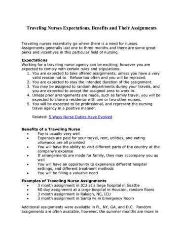 travel nurse assignments