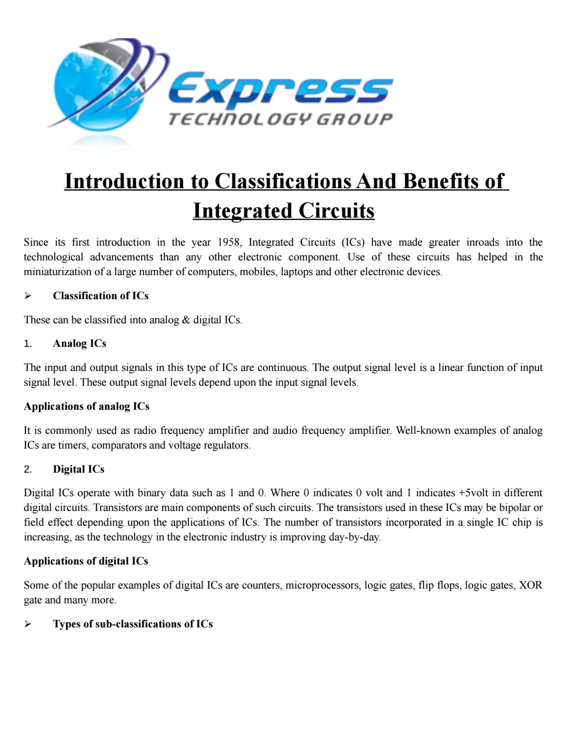 Introduction To Classifications And Benefits Of Integrated Circuits Where Are Used By Express Technology Issuu