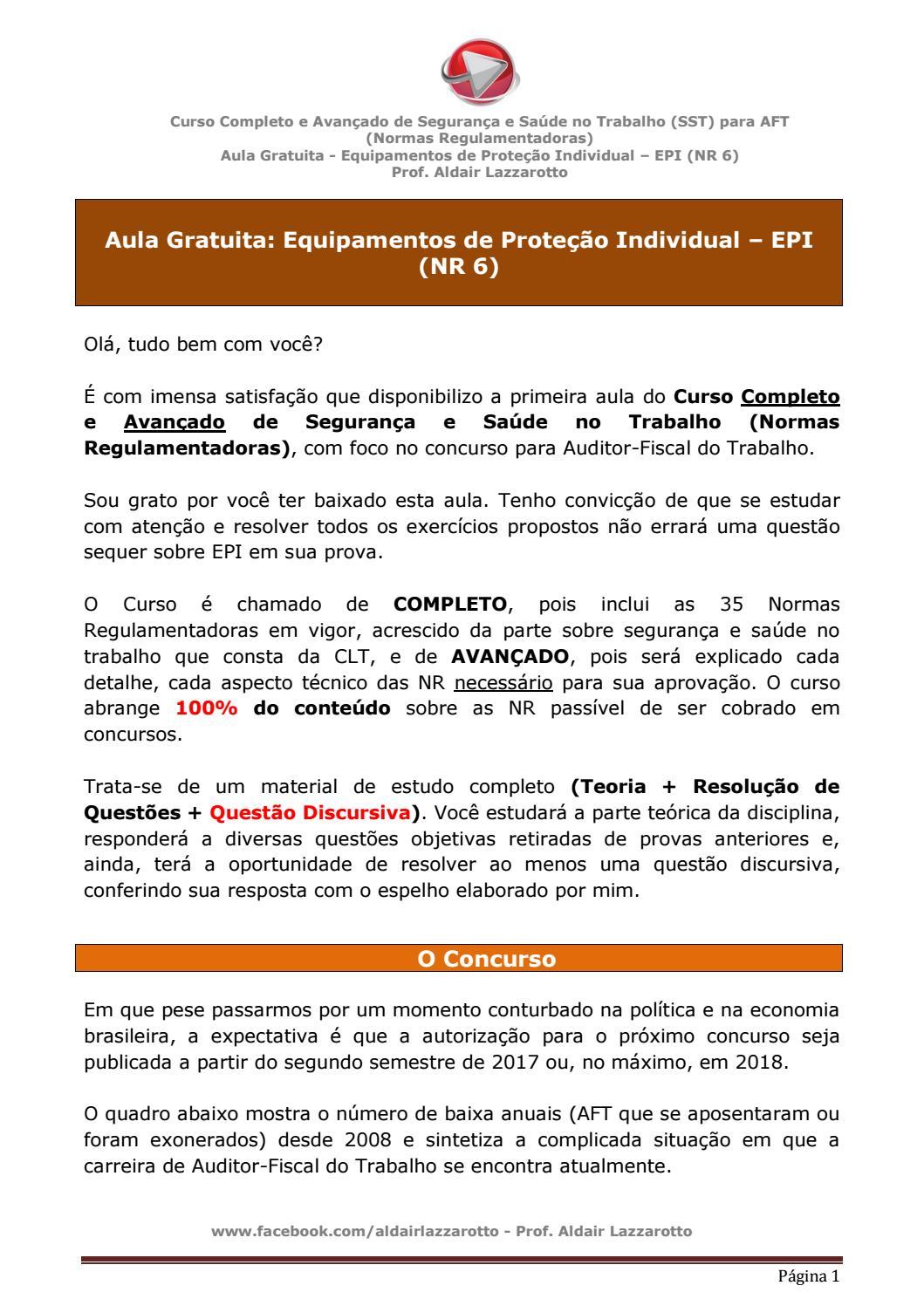 Aula gratuita do Curso Completo de Segurança e Saúde no Trabalho (SST) para  AFT by ald laz - issuu e30520fede