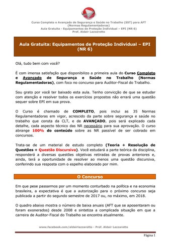 ... e Saúde no Trabalho (SST) para AFT (Normas Regulamentadoras) Aula  Gratuita - Equipamentos de Proteção Individual – EPI (NR 6) Prof. Aldair  Lazzarotto c369dbaccb