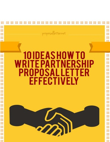 Partnership Proposal Letterss | Writing Partnership Proposal Letters That Get Results By