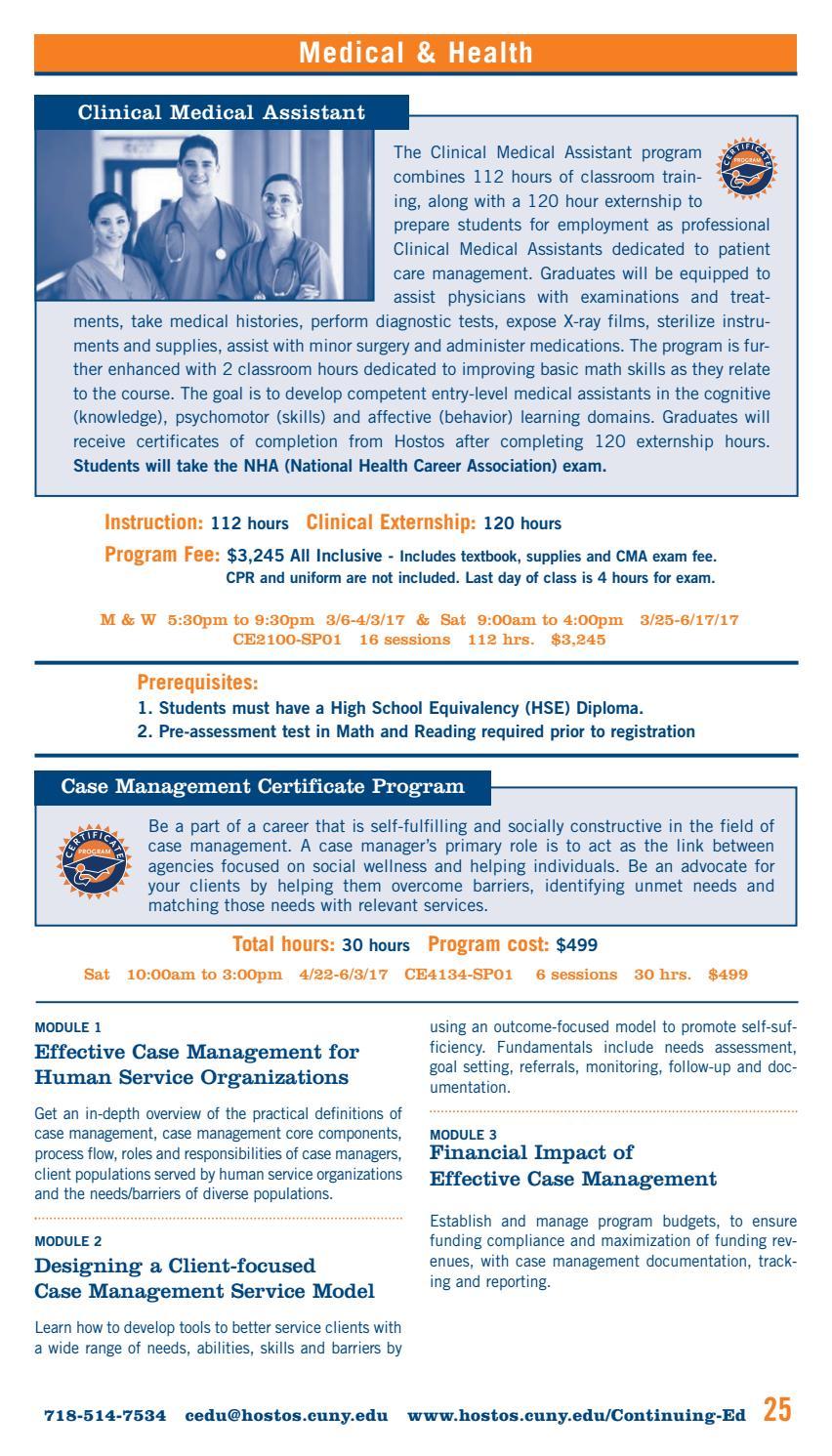 Spring 2017 Continuing Education Catalog by Hostos Community