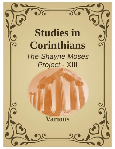 Studies in Corinthians by Shayne Moses - issuu