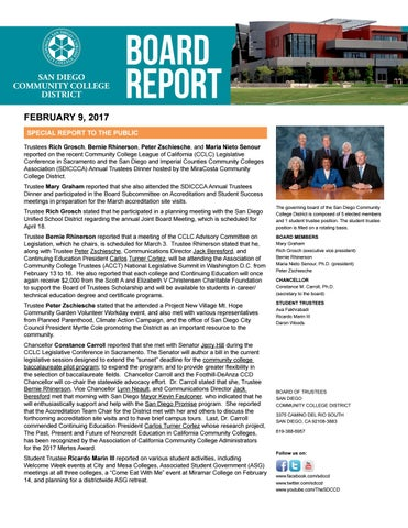 Sdccd Board Report  February   By San Diego Community College