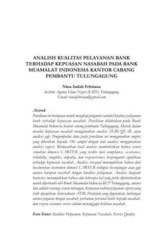 Analisis kualitas pelayanan bank terhadap kepuasan nasabah pada bank analisis kualitas pelayanan bank terhadap kepuasan nasabah pada bank muamalat indonesia kantor cabang pembantu tulungagung nina indah febriana institut ccuart Images