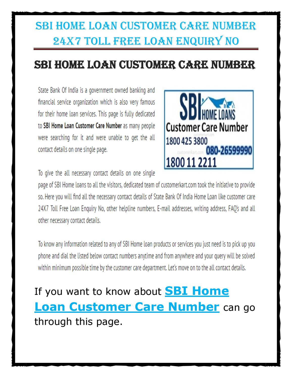 JEANNETTE: Sbi home loan customer care contact number