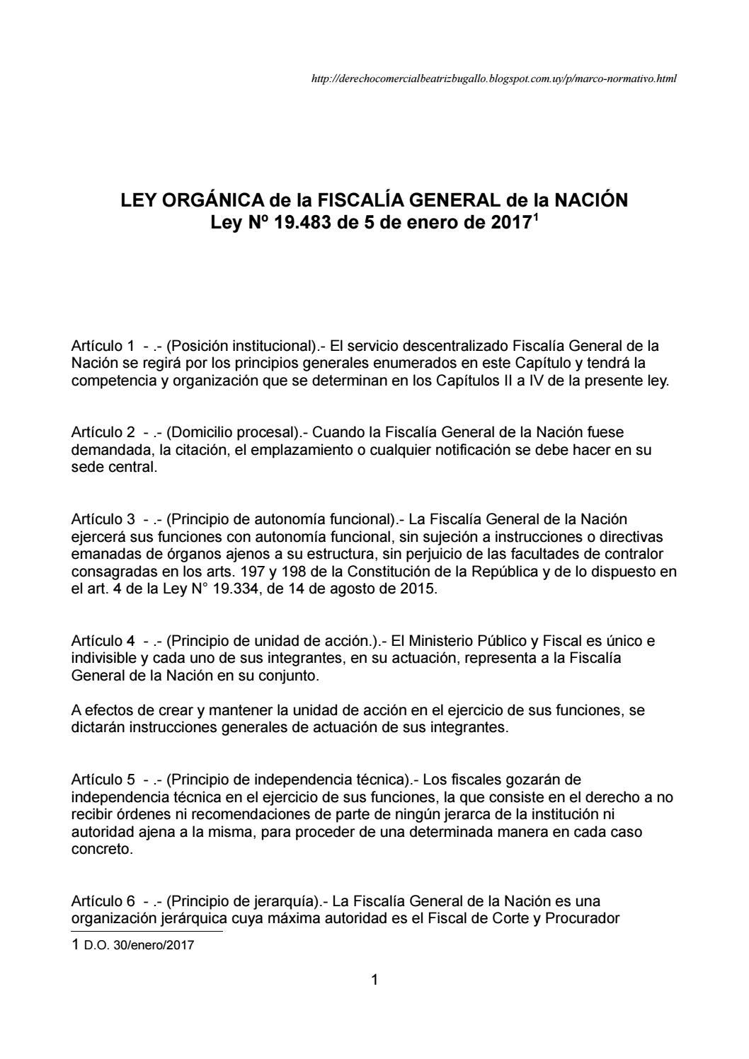 Ley 19483 Fiscalía General De La Nación By Beatriz Bugallo