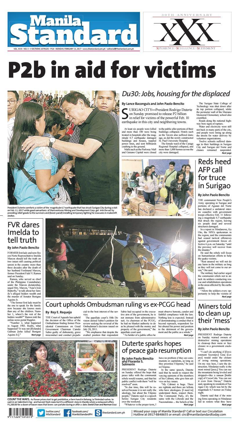Manila Standard - 2017 February 13 - Monday by Manila