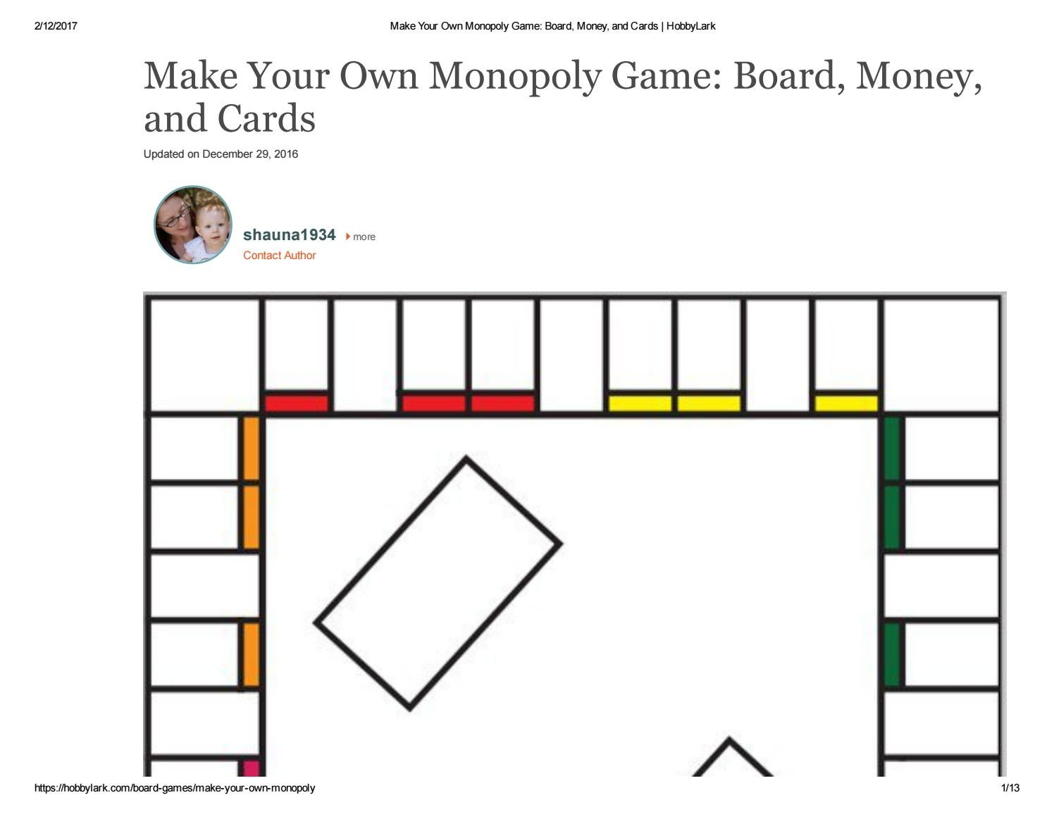The gallery for blank monopoly game board template for Custom monopoly board template