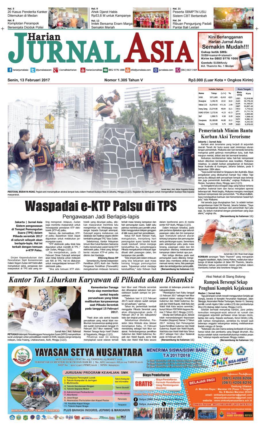 Harian Jurnal Asia Edisi Senin 13 Februari 2017 By Produk Ukm Bumn Susu Kambing Etawa Instant Medan Issuu