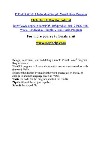 Pos 408 Week 1 Individual Simple Visual Basic Program By Jabbaree110