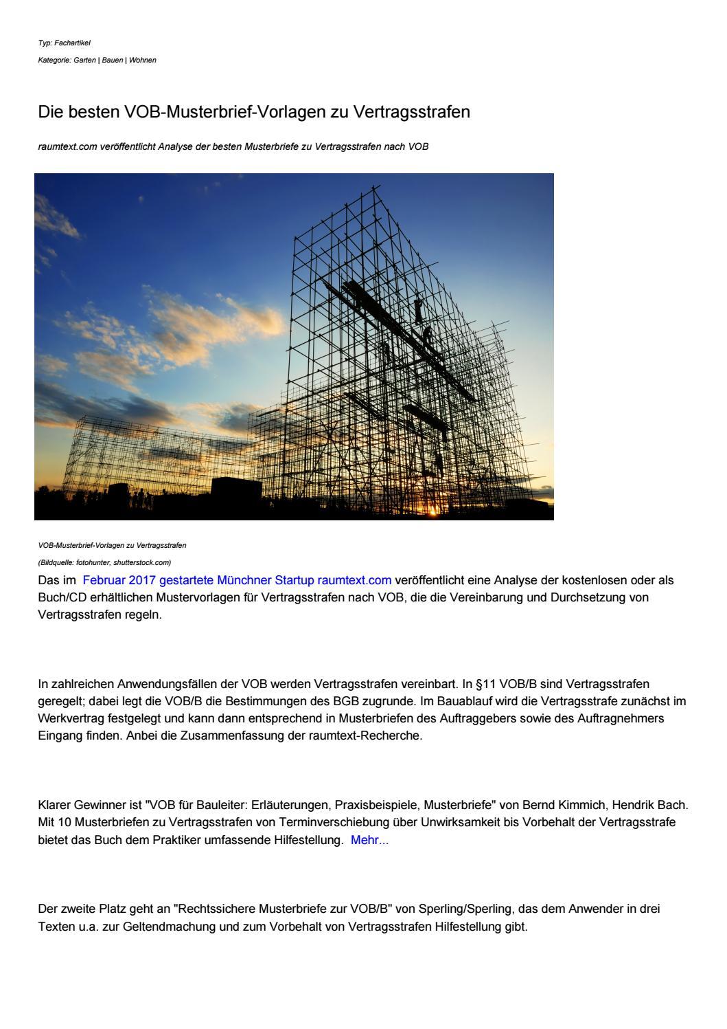 Die Besten Vob Musterbrief Vorlagen Zu Vertragsstrafen By
